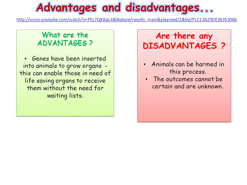 What are the ADVANTAGES Are there any DISADVANTAGES