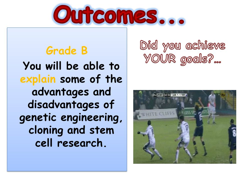 Outcomes... Did you achieve YOUR goals … Grade B