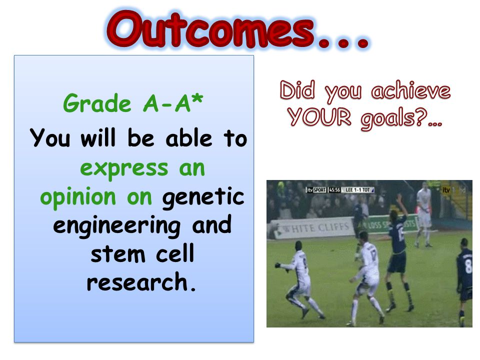 Outcomes... Grade A-A* You will be able to express an opinion on genetic engineering and stem cell research.