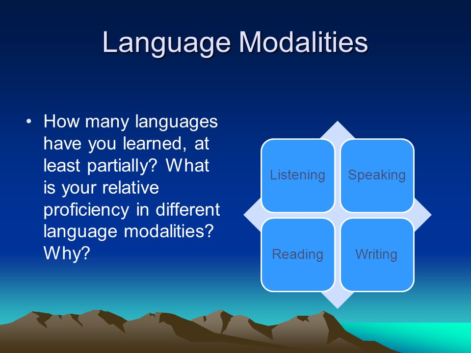 Language Modalities How many languages have you learned, at least partially What is your relative proficiency in different language modalities Why