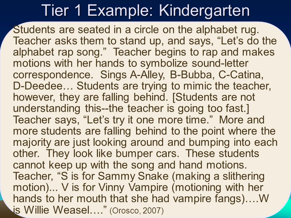 Tier 1 Example: Kindergarten