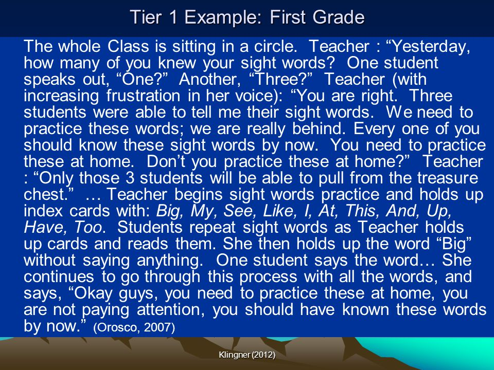 Tier 1 Example: First Grade