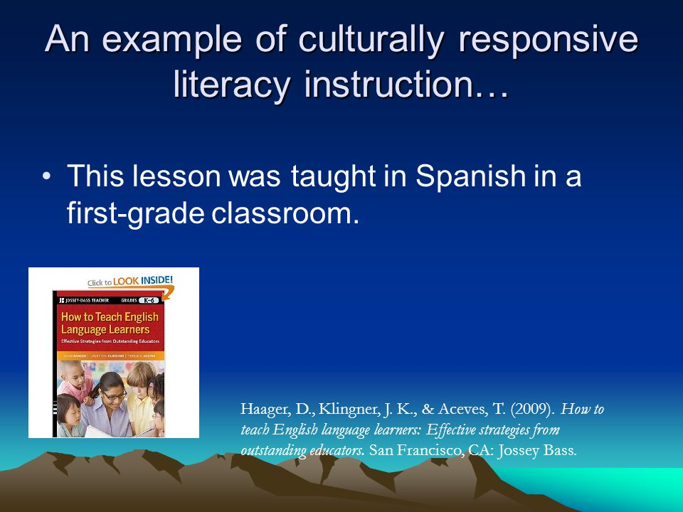 An example of culturally responsive literacy instruction…
