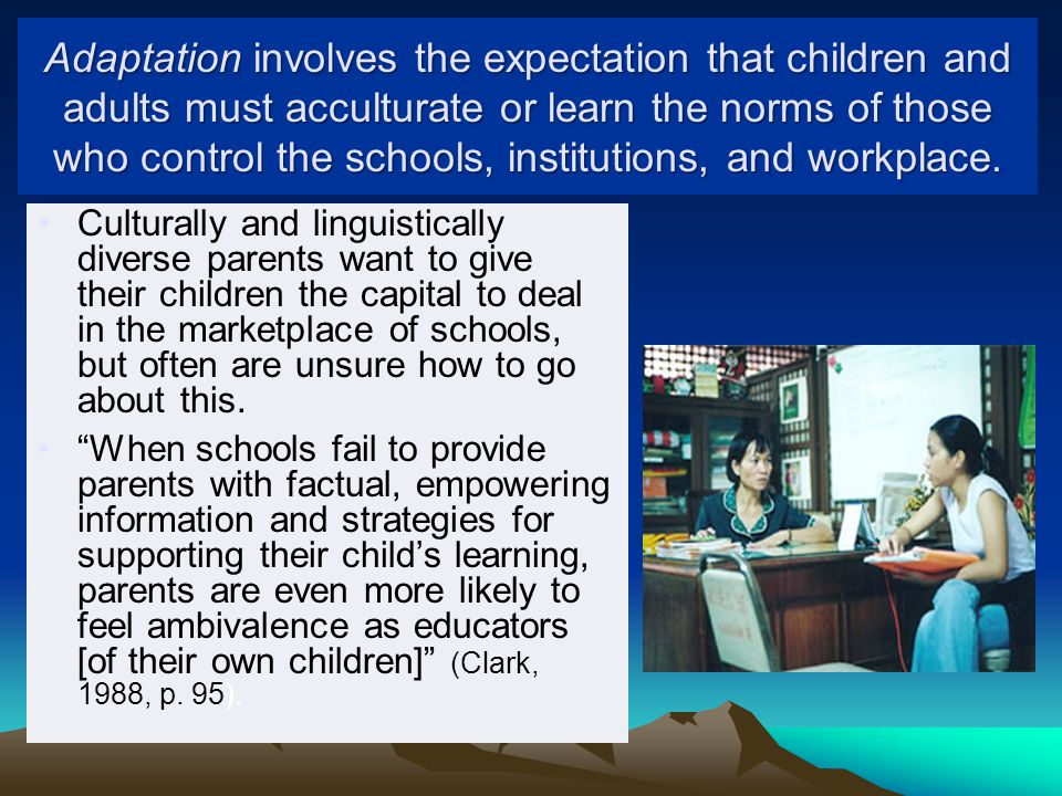 Adaptation involves the expectation that children and adults must acculturate or learn the norms of those who control the schools, institutions, and workplace.