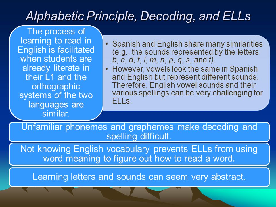 Alphabetic Principle, Decoding, and ELLs