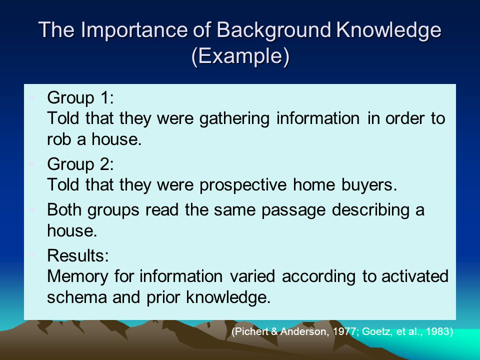 The Importance of Background Knowledge (Example)