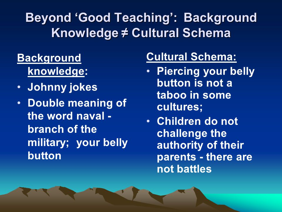 Beyond 'Good Teaching': Background Knowledge ≠ Cultural Schema