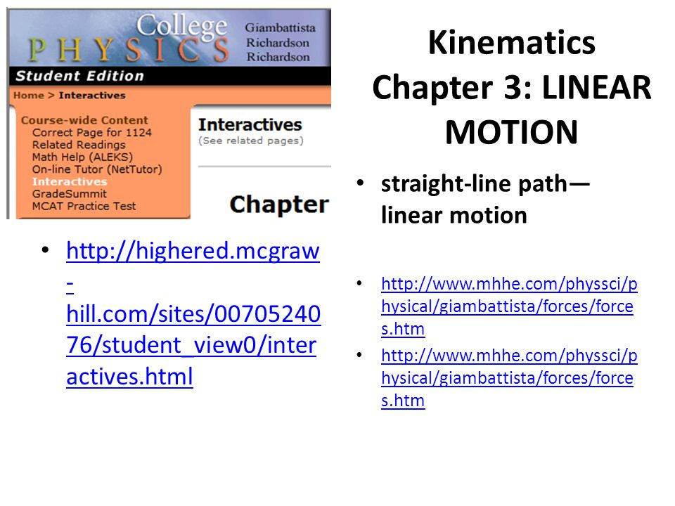 Kinematics Chapter 3: LINEAR MOTION