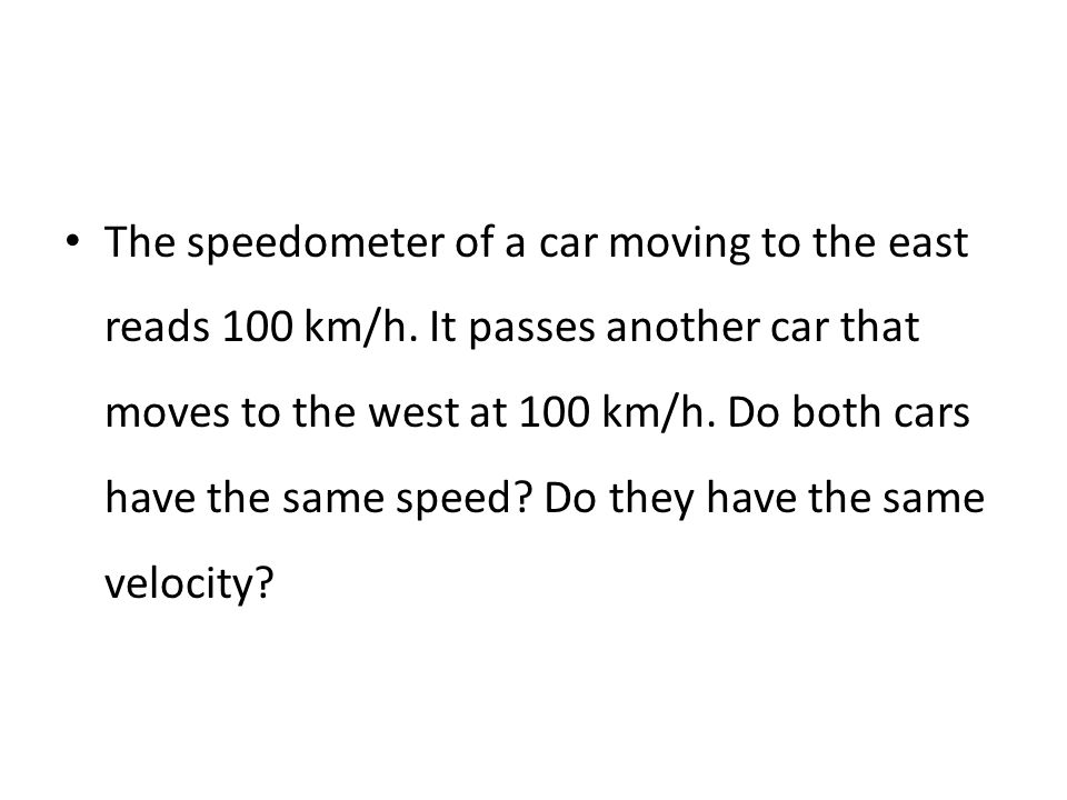 The speedometer of a car moving to the east reads 100 km/h