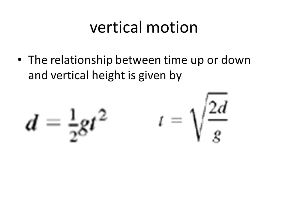 vertical motion The relationship between time up or down and vertical height is given by