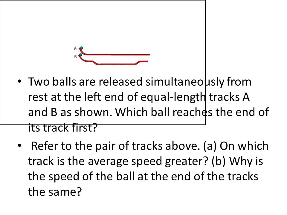 Two balls are released simultaneously from rest at the left end of equal-length tracks A and B as shown. Which ball reaches the end of its track first