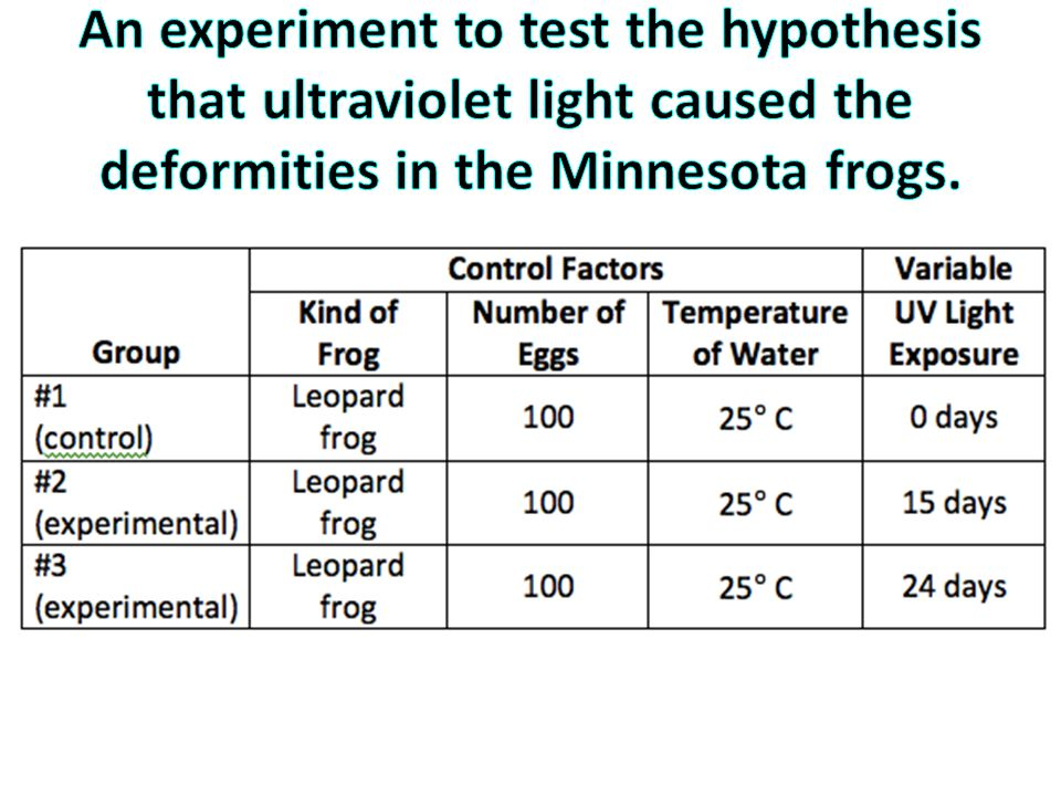 An experiment to test the hypothesis that ultraviolet light caused the deformities in the Minnesota frogs.