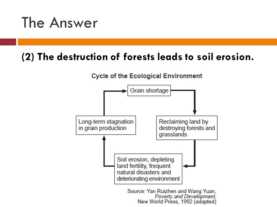 The Answer (2) The destruction of forests leads to soil erosion.