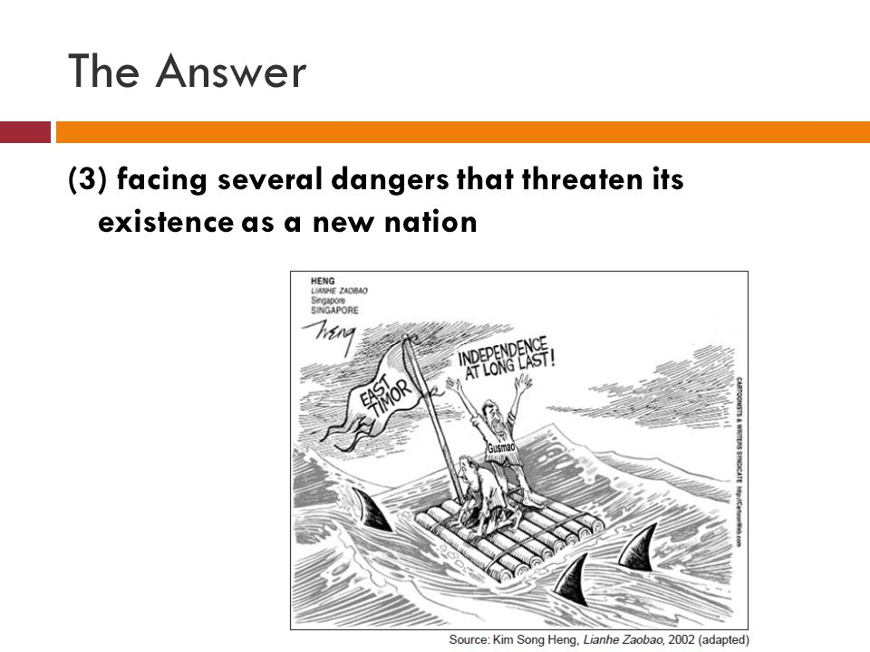 The Answer (3) facing several dangers that threaten its existence as a new nation