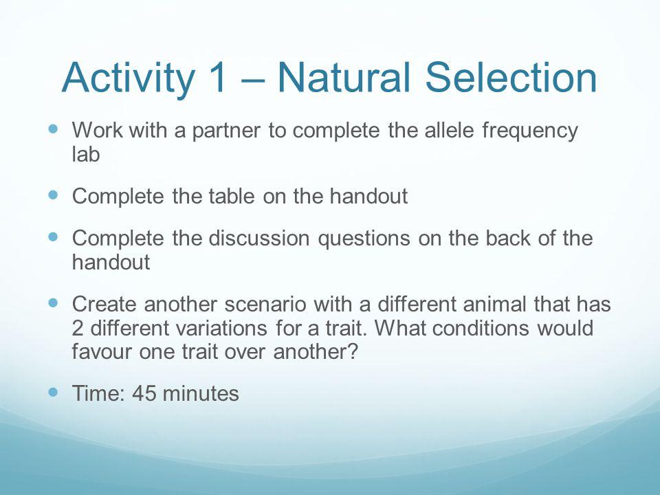 Activity 1 – Natural Selection