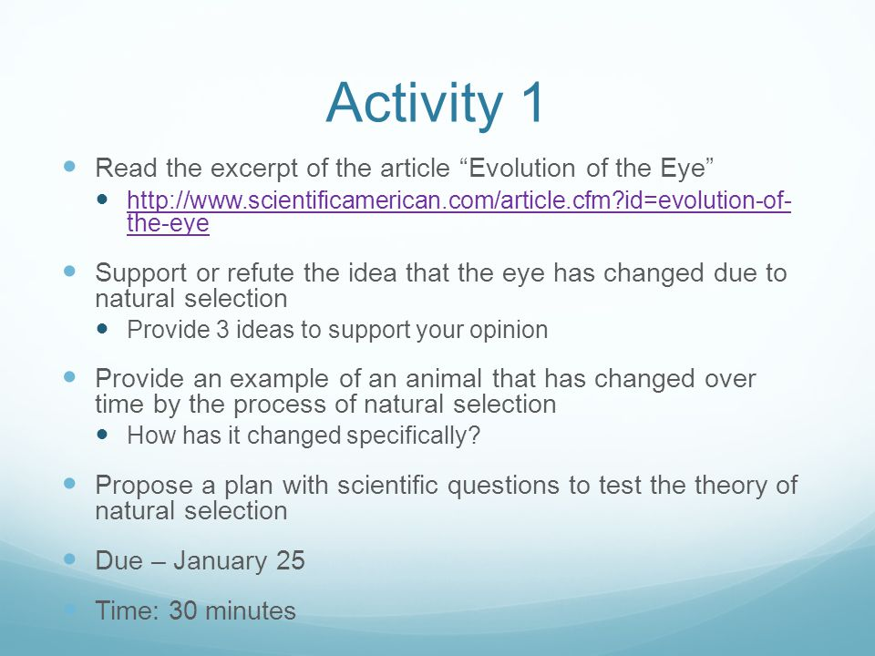 Activity 1 Read the excerpt of the article Evolution of the Eye