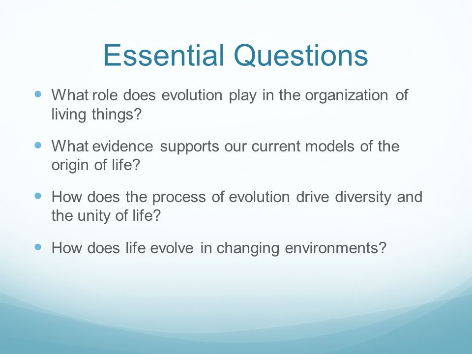 Essential Questions What role does evolution play in the organization of living things