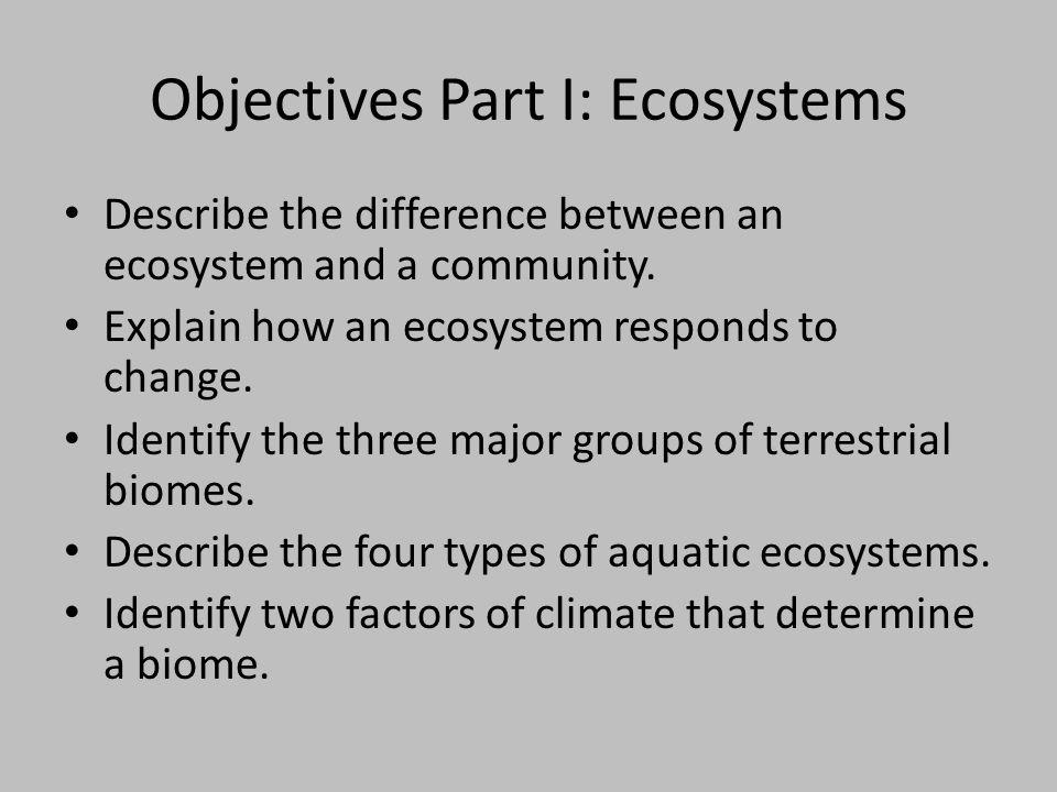 Objectives Part I: Ecosystems