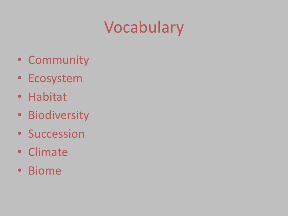 Vocabulary Community Ecosystem Habitat Biodiversity Succession Climate