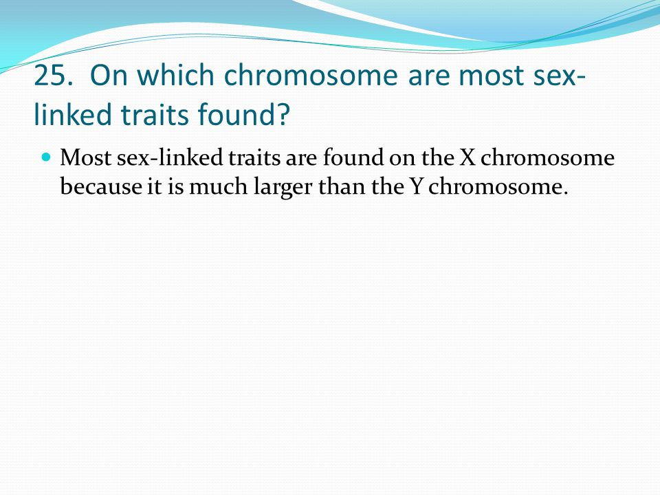 25. On which chromosome are most sex-linked traits found