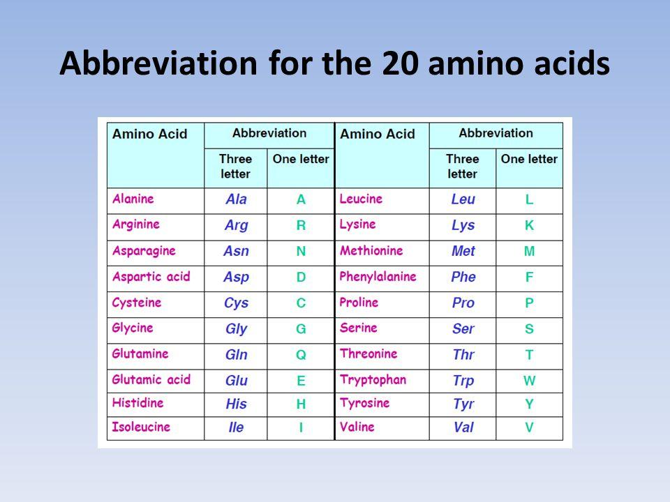 Abbreviation for the 20 amino acids