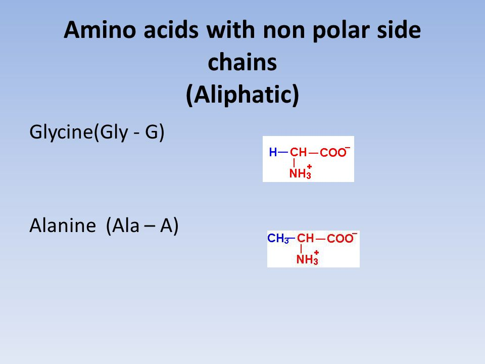 Amino acids with non polar side chains (Aliphatic)