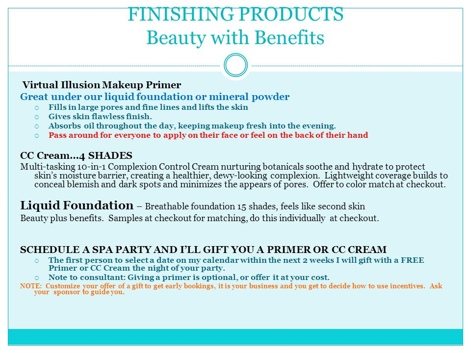 FINISHING PRODUCTS Beauty with Benefits