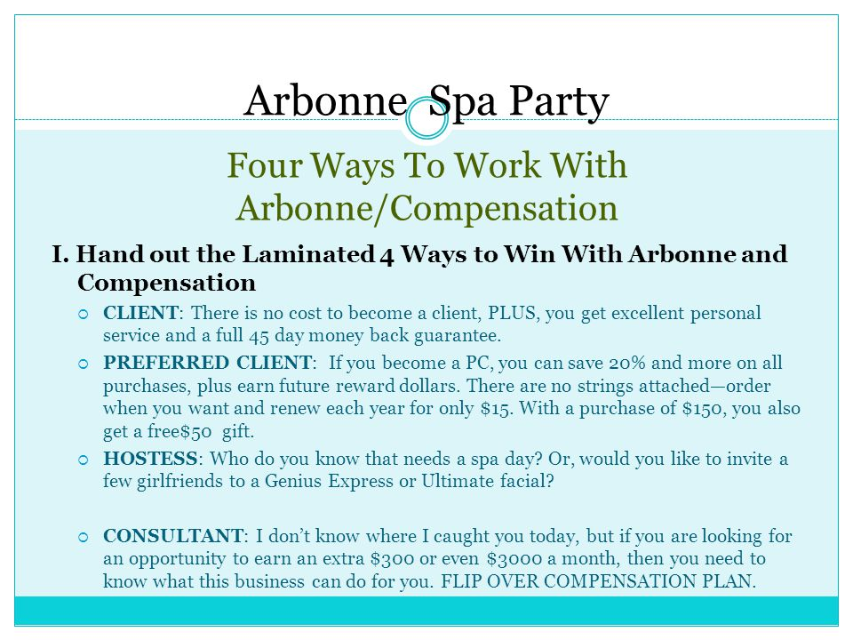 Four Ways To Work With Arbonne/Compensation