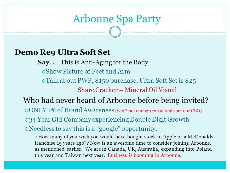 Arbonne Spa Party Demo Re9 Ultra Soft Set