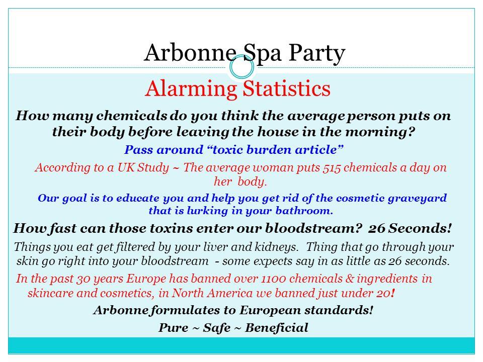 Arbonne Spa Party Alarming Statistics