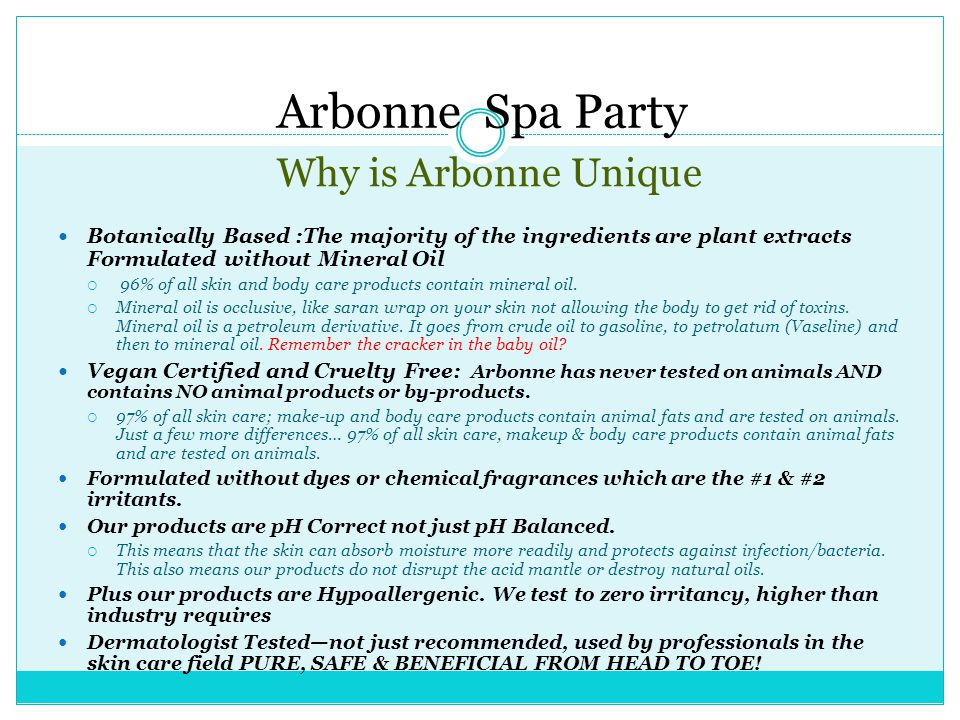 Arbonne Spa Party Why is Arbonne Unique
