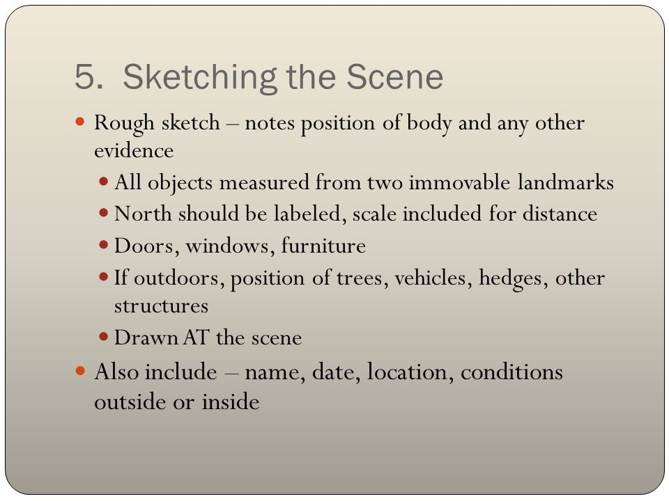 5. Sketching the Scene Rough sketch – notes position of body and any other evidence. All objects measured from two immovable landmarks.