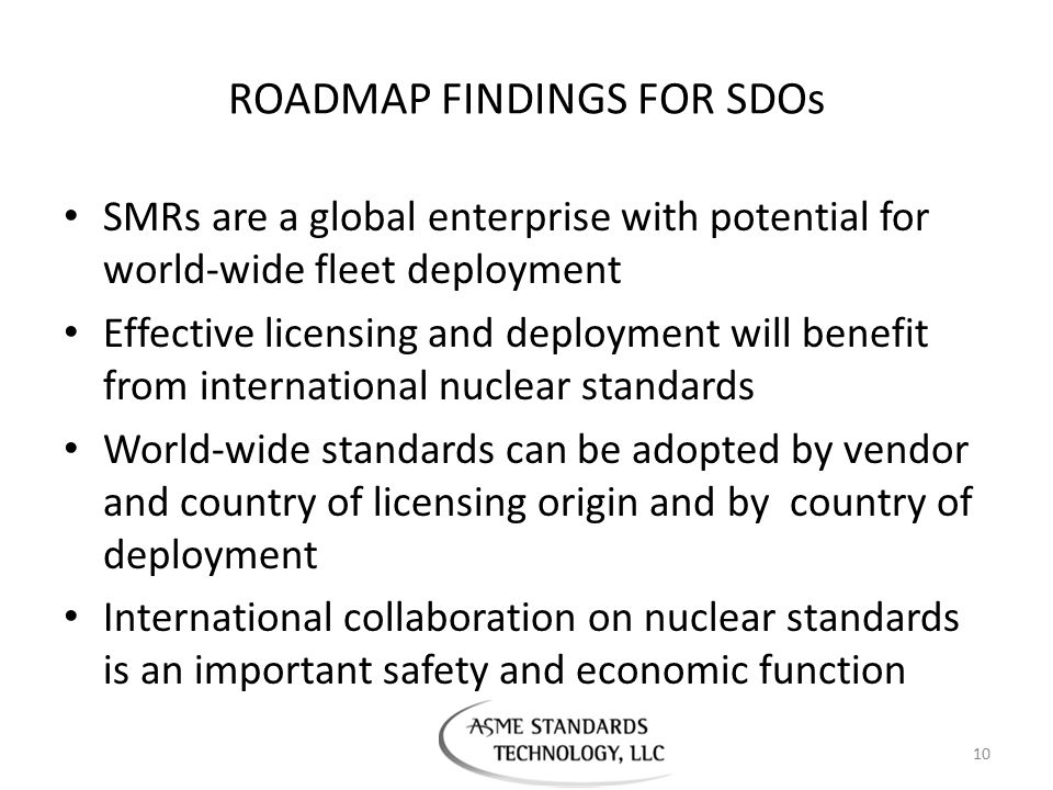 ROADMAP FINDINGS FOR SDOs