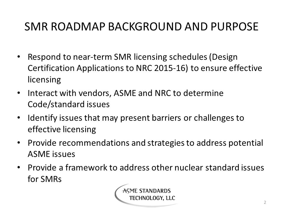 SMR ROADMAP BACKGROUND AND PURPOSE