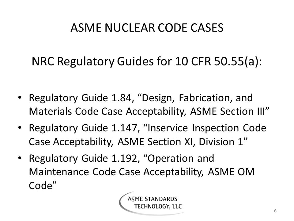 ASME NUCLEAR CODE CASES