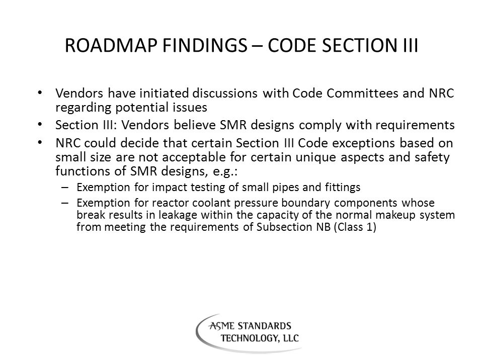 ROADMAP FINDINGS – CODE SECTION III