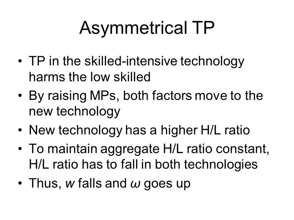 Asymmetrical TP TP in the skilled-intensive technology harms the low skilled. By raising MPs, both factors move to the new technology.