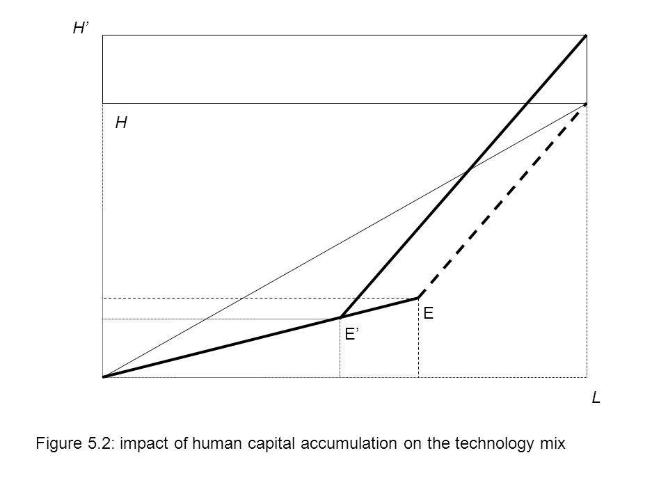 H' H E E' L Figure 5.2: impact of human capital accumulation on the technology mix