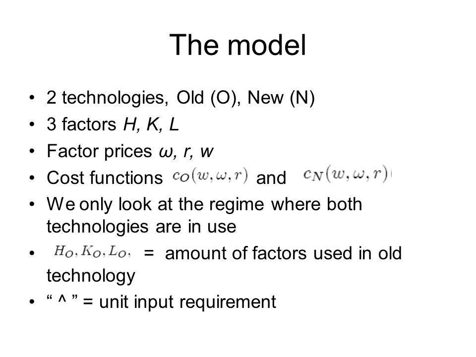 The model 2 technologies, Old (O), New (N) 3 factors H, K, L