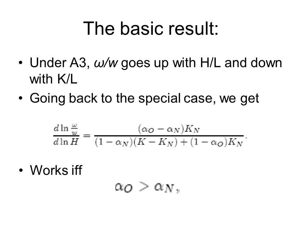 The basic result: Under A3, ω/w goes up with H/L and down with K/L