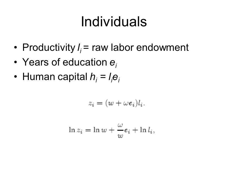 Individuals Productivity li = raw labor endowment