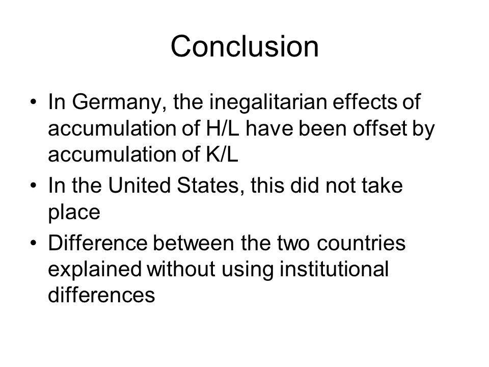 Conclusion In Germany, the inegalitarian effects of accumulation of H/L have been offset by accumulation of K/L.