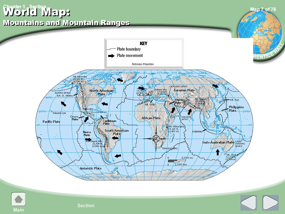 World Map: Mountains and Mountain Ranges