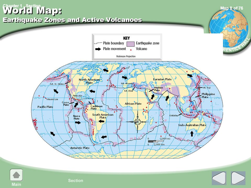 World Map: Earthquake Zones and Active Volcanoes