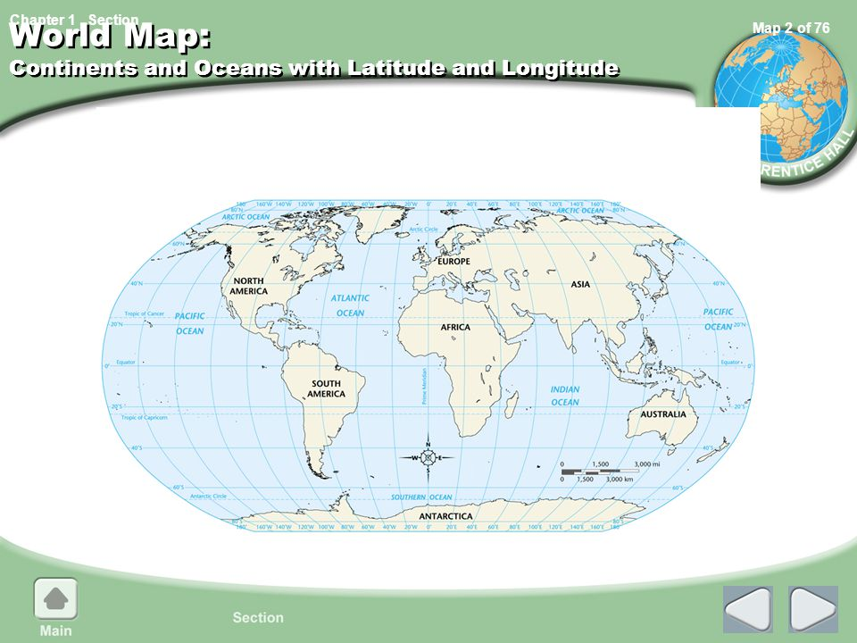 World Map: Continents and Oceans with Latitude and Longitude