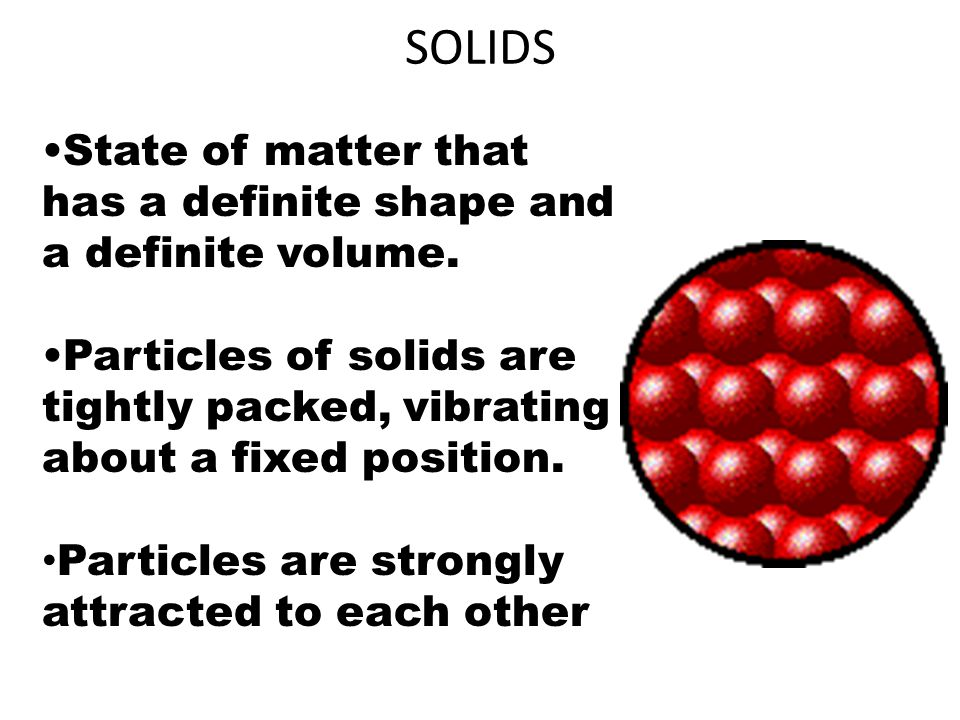 SOLIDS State of matter that has a definite shape and a definite volume. Particles of solids are tightly packed, vibrating about a fixed position.