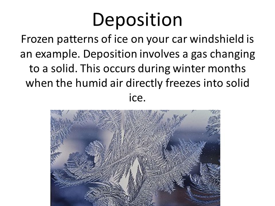 Deposition Frozen patterns of ice on your car windshield is an example