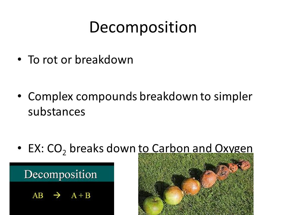 Decomposition To rot or breakdown