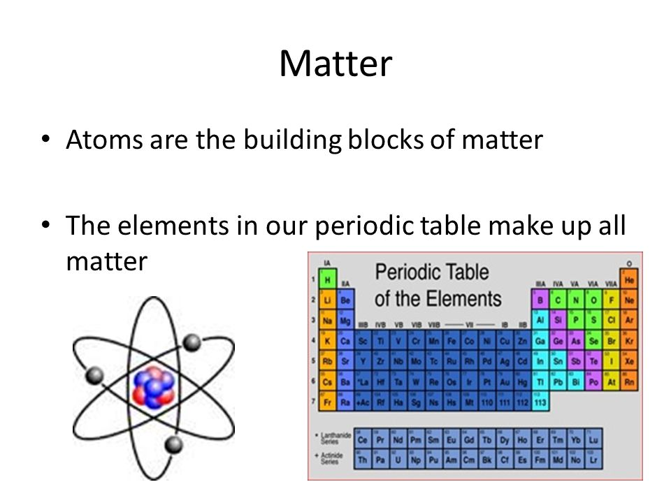 Matter Atoms are the building blocks of matter