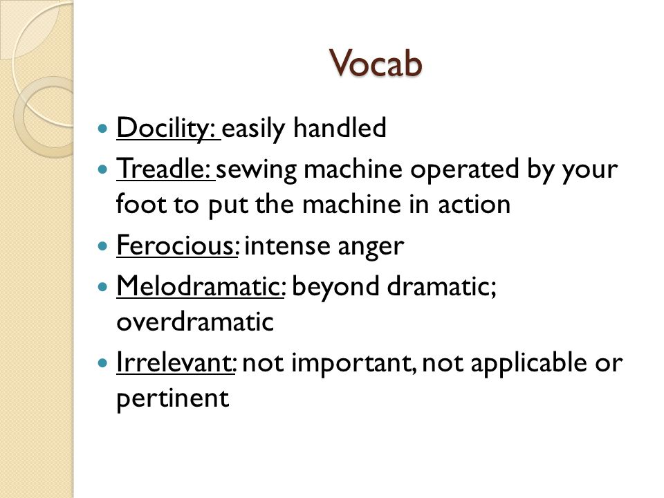Vocab Docility: easily handled